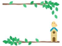 鳥小屋の上の黄色い小鳥と木の枝の上下フレーム飾り枠イラスト