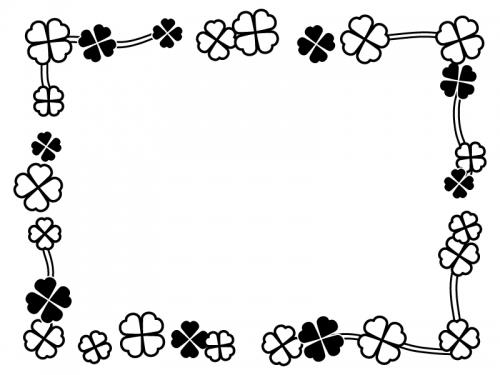 クローバーの囲み白黒フレーム飾り枠イラスト
