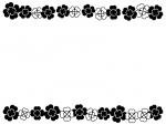 クローバーの上下白黒フレーム飾り枠イラスト