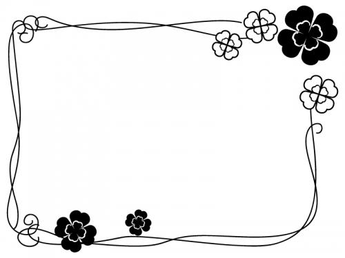 クローバーと飾り線の囲み白黒フレーム飾り枠イラスト