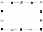 クローバーの点線囲み白黒フレーム飾り枠イラスト