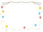 赤青黄チェック模様のフラッグガーランドと風船のフレーム飾り枠イラスト