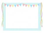 パステルカラーのフラッグガーランドの水色フレーム飾り枠イラスト