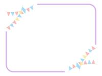 パステルカラーのフラッグガーランドと紫色のフレーム飾り枠イラスト