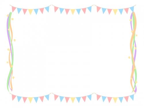 パステルカラーのフラッグガーランドと紙テープのフレーム飾り枠イラスト
