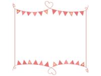 手書きハート線と赤いフラッグガーランドのフレーム飾り枠イラスト
