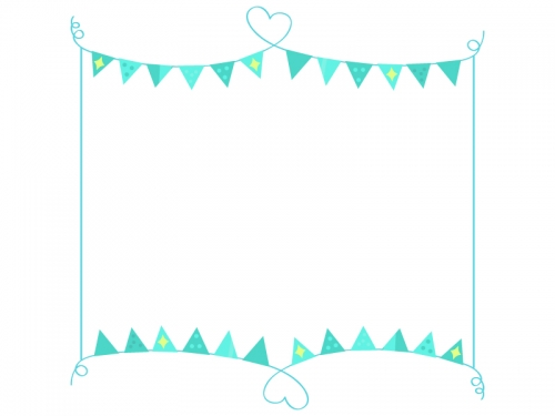 手書きハート線と水色フラッグガーランドのフレーム飾り枠イラスト