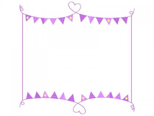 手書きハート線と紫色フラッグガーランドのフレーム飾り枠イラスト
