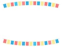 赤青黄チェック模様のフラッグガーランドの上下フレーム飾り枠イラスト