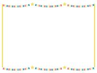 赤青黄チェック模様のフラッグガーランドの黄色線囲みフレーム飾り枠イラスト