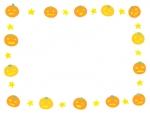 ハロウィン・ジャックオーランタンと星の囲みフレーム飾り枠イラスト