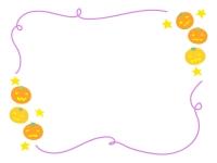 ハロウィン・ジャックオーランタンと紫の手書き線フレーム飾り枠イラスト