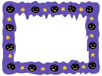 ハロウィン・かぼちゃと紫色の垂れたようなフレーム飾り枠イラスト