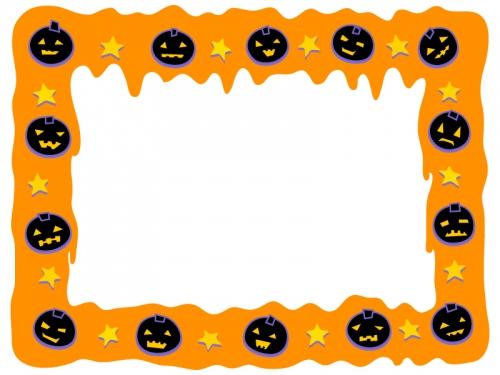 ハロウィン・かぼちゃとオレンジ色の垂れたようなフレーム飾り枠イラスト