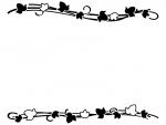 アイビー(蔦・ツタ)葉っぱの上下白黒フレーム飾り枠イラスト