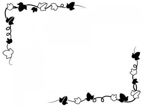 アイビー(蔦・ツタ)葉っぱの白黒フレーム飾り枠イラスト