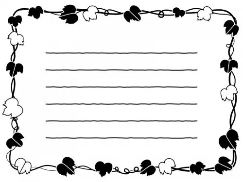 アイビー(蔦・ツタ)葉っぱの囲みメモ帳白黒フレーム飾り枠イラスト