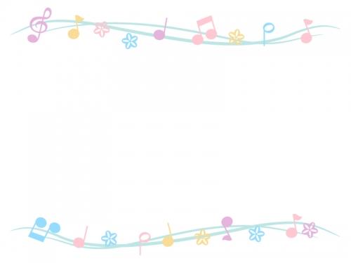 パステルカラーの音符とお花の上下フレーム飾り枠イラスト