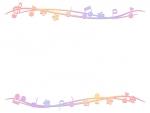 グラデーションの音符とお花の上下フレーム飾り枠イラスト