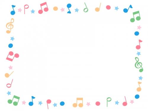 ポップな音符の囲みフレーム飾り枠イラスト