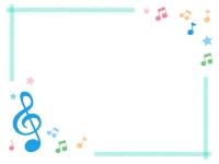 青いト音記号と音符の水色マーカー風フレーム飾り枠イラスト