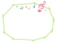ピンク色のト音記号と音符の黄緑色マーカー風フレーム飾り枠イラスト