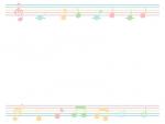 パステルカラーの音符と五線譜のフレーム飾り枠イラスト