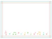 パステルカラーの音符と五線譜の囲みフレーム飾り枠イラスト