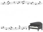 グランドピアノと五線譜と音符の上下白黒フレーム飾り枠イラスト