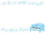 グランドピアノと五線譜と音符の水色上下フレーム飾り枠イラスト