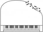ピアノの形と音符の白黒フレーム飾り枠イラスト