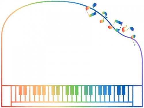 グラデーションのピアノの形と音符のフレーム飾り枠イラスト