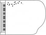 横向きのピアノの形と音符の白黒フレーム飾り枠イラスト