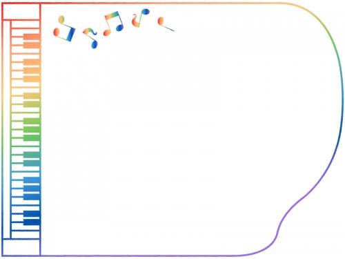 横向きのグラデーションのピアノの形と音符のフレーム飾り枠イラスト