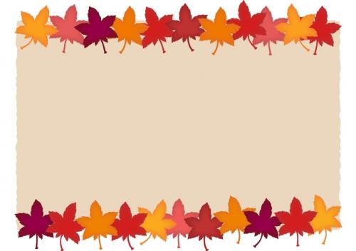 色鮮やかな紅葉(もみじ)の茶色上下フレーム飾り枠イラスト