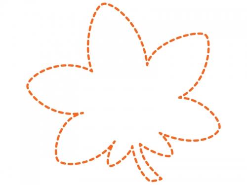 紅葉(もみじ)の形のオレンジ色の点線フレーム飾り枠イラスト