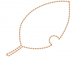 落ち葉の形の茶色の点線フレーム飾り枠イラスト