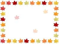 色鮮やかな紅葉(もみじ)の囲みフレーム飾り枠イラスト