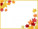 色鮮やかな紅葉(もみじ)の2隅の金色フレーム飾り枠イラスト