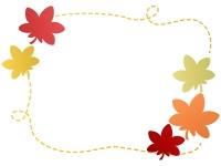 色鮮やかな紅葉(もみじ)の手書き風点線フレーム飾り枠イラスト