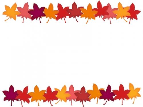 色鮮やかな紅葉(もみじ)の上下フレーム飾り枠イラスト