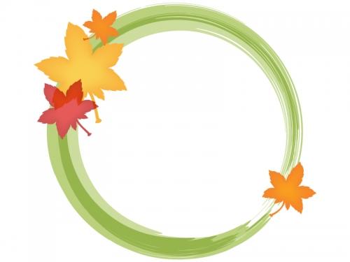 紅葉(もみじ)と黄緑色の筆線円形フレーム飾り枠イラスト