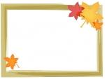 紅葉(もみじ)と茶色の筆線四角フレーム飾り枠イラスト