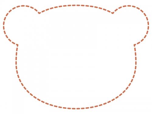 クマの顔の形の茶色の点線フレーム飾り枠イラスト