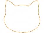 ネコの顔の形のオレンジ色の点線フレーム飾り枠イラスト