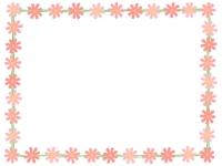 コスモスの花と黄緑線の囲みフレーム飾り枠イラスト