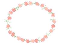 コスモスの花と葉のリース風楕円形フレーム飾り枠イラスト