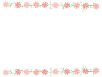 コスモスの花の上下フレーム飾り枠イラスト