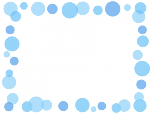 大小水玉(青色)のフレーム飾り枠イラスト