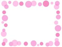 大小水玉(ピンク色)のフレーム飾り枠イラスト